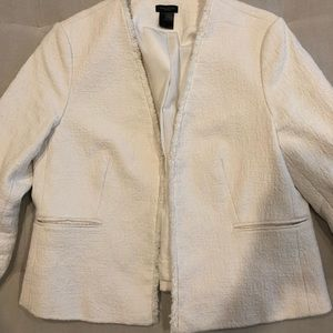 Ann Taylor szM cropped cotton winter white jacket